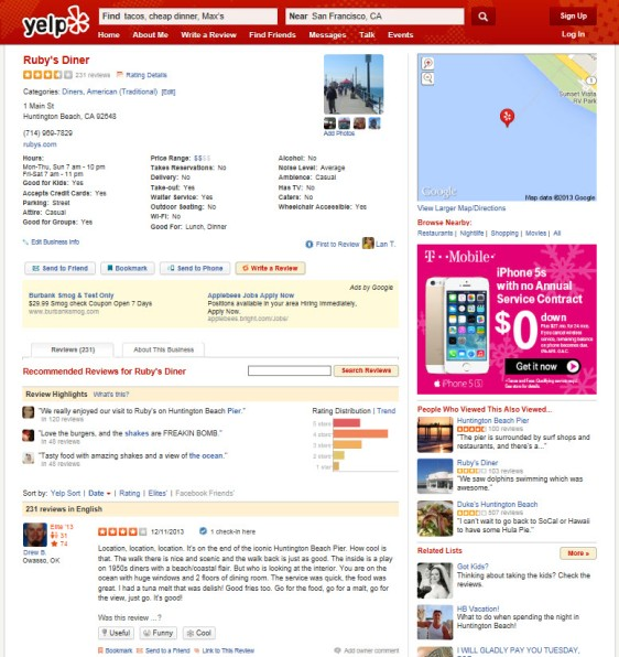 Yelp Current User Interface